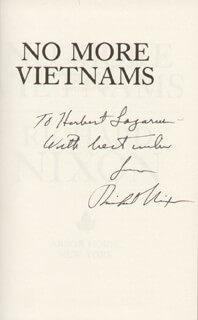 PRESIDENT RICHARD M. NIXON - INSCRIBED BOOK SIGNED