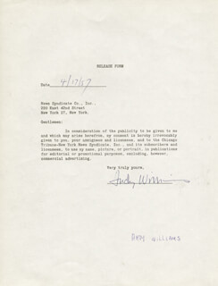 ANDY WILLIAMS - DOCUMENT SIGNED 04/17/1957