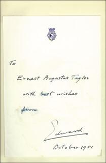 KING EDWARD VIII - INSCRIBED BOOK SIGNED 10/1951