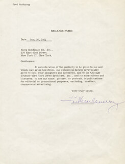FRED MacMURRAY - DOCUMENT SIGNED 01/20/1961