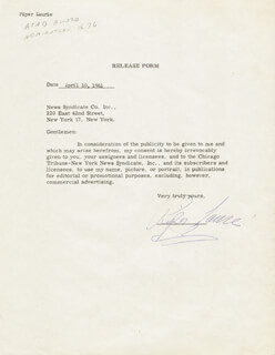 PIPER LAURIE - DOCUMENT SIGNED 04/10/1961