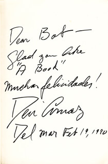 Autographs: DESI ARNAZ SR. - INSCRIBED BOOK SIGNED 02/19/1980