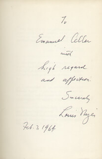 LOUIS NIZER - INSCRIBED BOOK SIGNED 02/07/1964