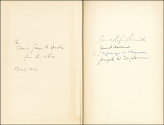 Autographs: EDMUND R. BECKWITH - BOOK SIGNED 3/1944 CO-SIGNED BY: JAMES G. HOLLAND, GEORGE W. BACON, JOSEPH W. McGOVERN