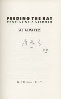 Autographs: AL ALVAREZ - BOOK SIGNED 1990