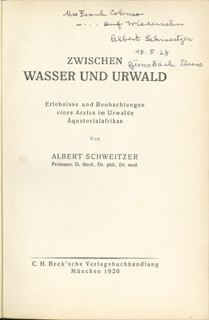 ALBERT SCHWEITZER - INSCRIBED BOOK SIGNED 05/18/1928