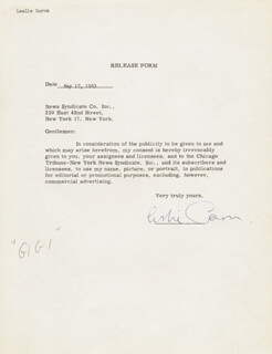 LESLIE CARON - DOCUMENT SIGNED 05/17/1963