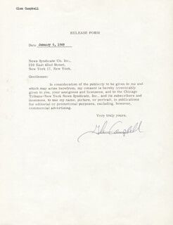 GLEN CAMPBELL - DOCUMENT SIGNED 01/06/1969
