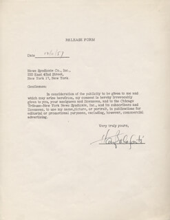 HARRY BELAFONTE - DOCUMENT SIGNED 12/11/1957