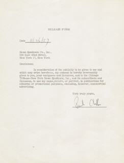 Autographs: PAUL ANKA - DOCUMENT SIGNED 11/26/1957