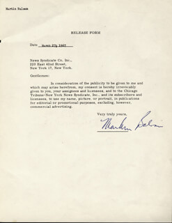 MARTIN BALSAM - DOCUMENT SIGNED 03/27/1967