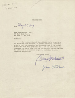 Autographs: JOAN FONTAINE - DOCUMENT SIGNED 05/25/1949