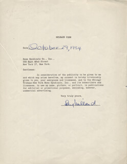 RAY MILLAND - DOCUMENT SIGNED 10/29/1954