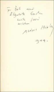ALDOUS HUXLEY - INSCRIBED BOOK SIGNED 1944