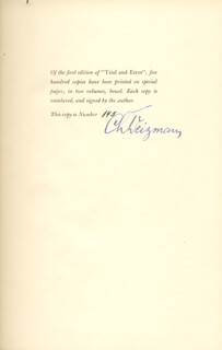 PRESIDENT CHAIM WEIZMANN (ISRAEL) - BOOK COLLECTION SIGNED