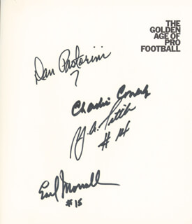 DAN PASTORINI - BOOK SIGNED CO-SIGNED BY: LEN DAWSON, ZEKE BRATKOWSKI, CHARLIE JOHNSON, CHARLIE CONERLY, Y. A. TITTLE, EARL MORRALL, BILL KILMER, JAMES HARRIS, ARCHIE MANNING