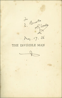 H. G. WELLS - INSCRIBED BOOK SIGNED 05/17/1936