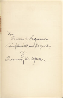 Autographs: CHAUNCEY M. DEPEW - INSCRIBED BOOK SIGNED