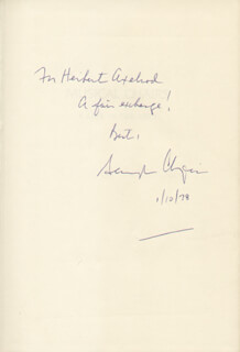 SCHUYLER GARRISON CHAPIN - INSCRIBED BOOK SIGNED 01/10/1978
