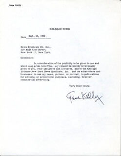 GENE KELLY - DOCUMENT SIGNED 09/11/1963